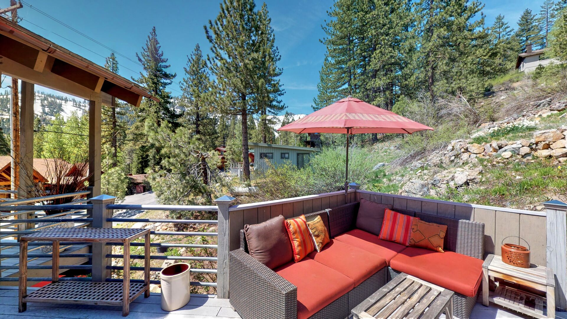 Outdoor sofa on the patio of this squaw valley rental