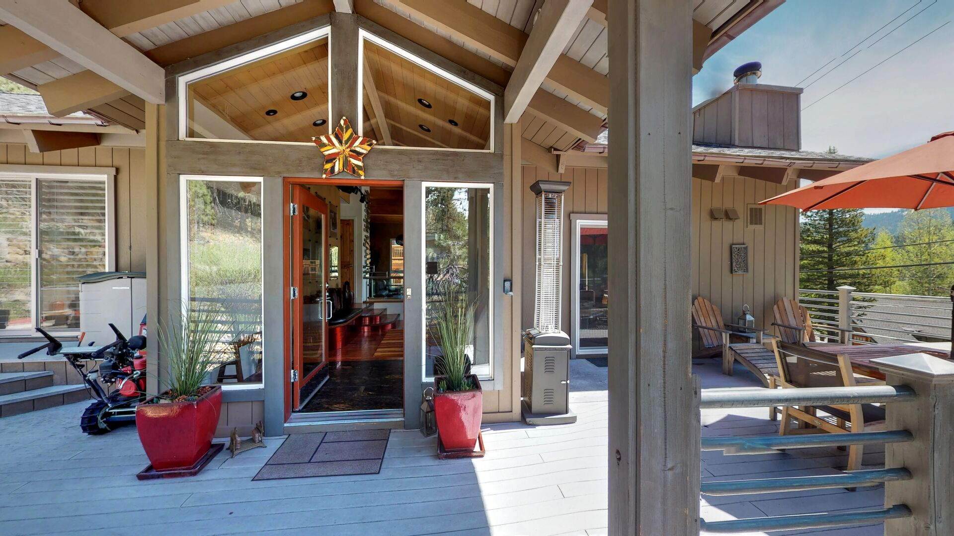 Patio and seating areas at this squaw valley rental