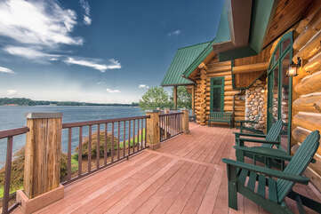 Azalea Retreat-The Lodge is decked out with Adirondack furniture on both the main level deck and lower level patio. Take in Lake Norman's gorgeous sunsets from every corner!