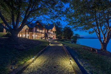 Lighted walkway from the house to the dock