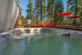 View of back deck from hot tub
