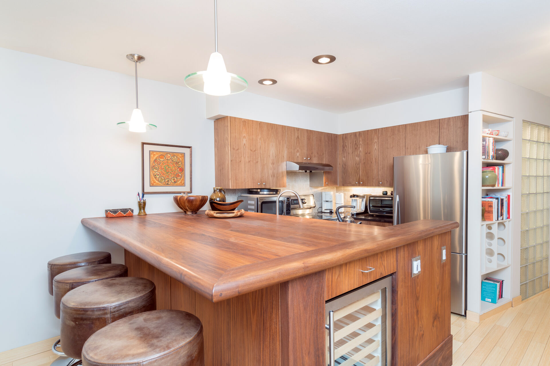 Bar-style seating near this Telluride condo for rent 's kitchen.