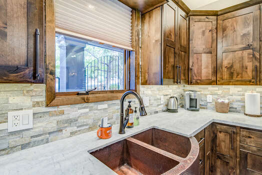 Stunning Cabinetry and Copper Sink