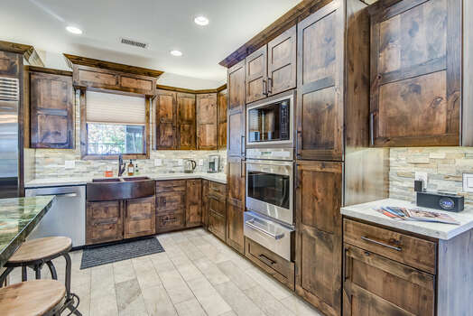 Stunning Custom Alder Wood Cabinets and White Quartzite Counters
