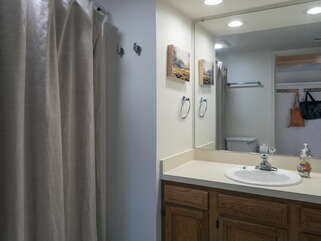 Master bath has a tub/shower combination
