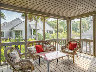 Screened porch has a door to the open deck