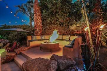 The elevated gas fire pit means no propane tanks running out during your stay