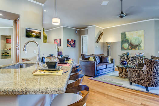 Open Kitchen and Living Room - Great Gathering Space