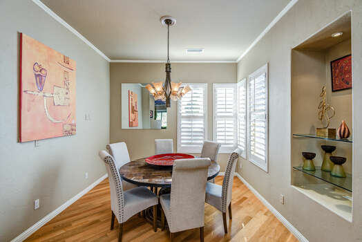Dining Room with Seating for 8 and Beautiful Hardwood Floors