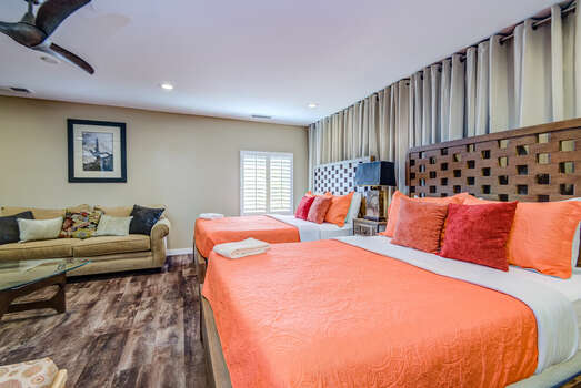 Attached Casita with Two Queen Beds and Full-size Sleeper Sofa