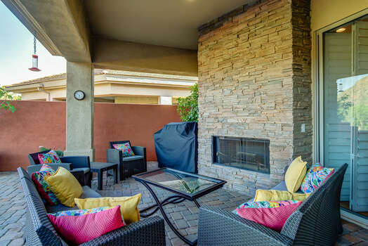 Sit Around the Gas Fireplace on a Cool Evening After Grilling Up Your Favorite Meal