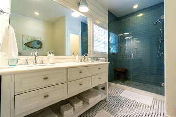 Master Bathroom with Double Vanity and Walk-in shower