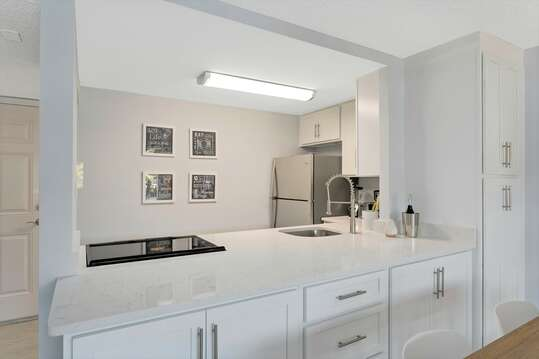 Spacious open and fully stocked kitchen (kitchenware and salt and pepper) allowing for easy meals in