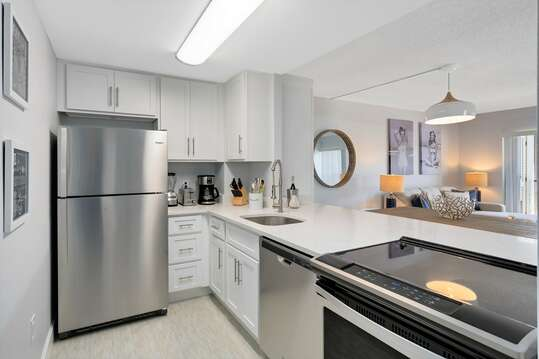 Fully equipped and brand new ktichen with quartz countertops
