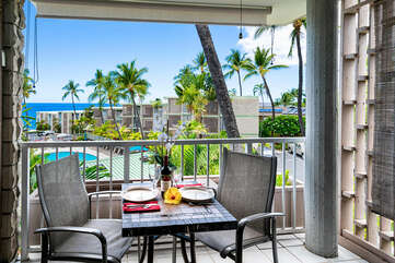 Private lanai with ocean view