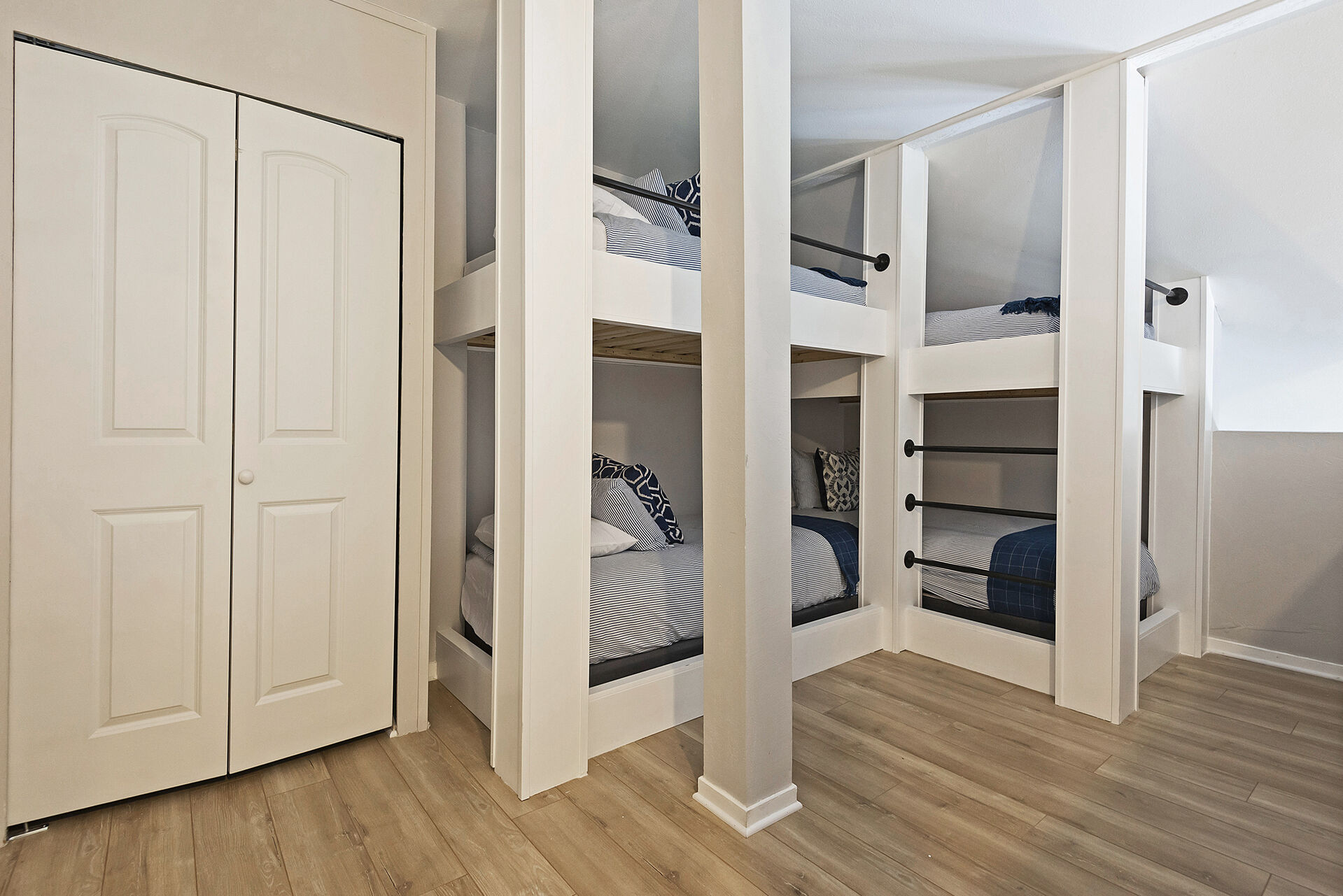 Loft Bunk Room with Custom Built Twin over Twin Bunk Beds