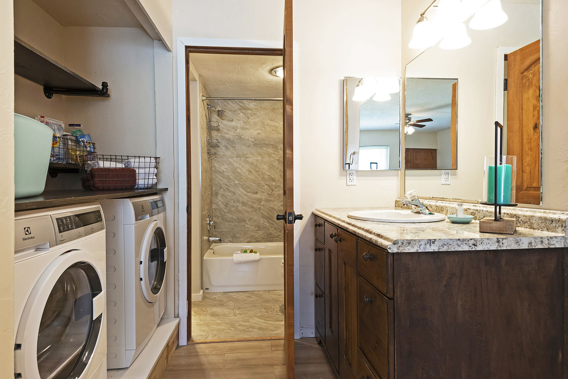 Washer / Dryer, Personal Vanity and Access to Shared Tub/Shower Combo