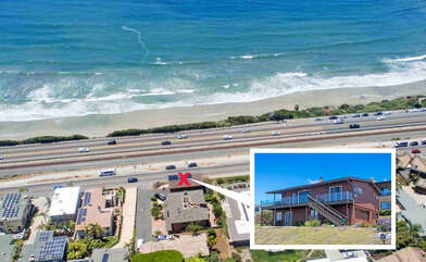 Aerial View of the home. A few steps away from the ocean.