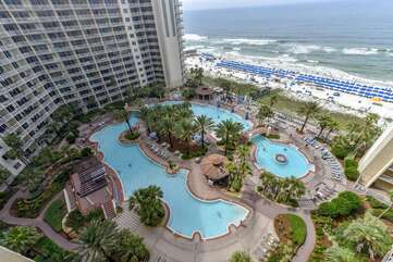 Balcony view of the Shores of Panama pool and Gulf of Mexico