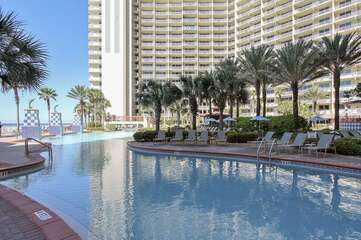 This is the view of the pool closest to the hot  tub and bar