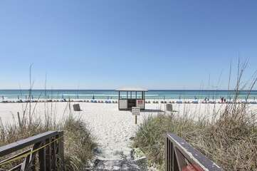 board walk leading to the beach from private access