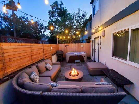 Private Front Patio with Jacuzzi, Sofa and Fire Pit