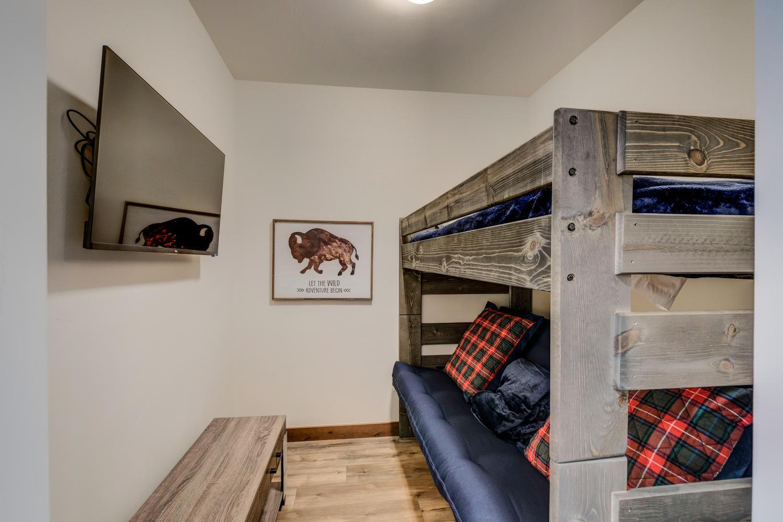 Upper bunk room with HD TV