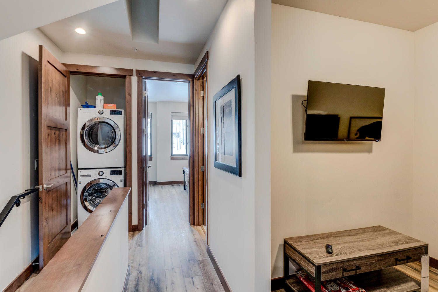 Upper hallway area with laundry closet