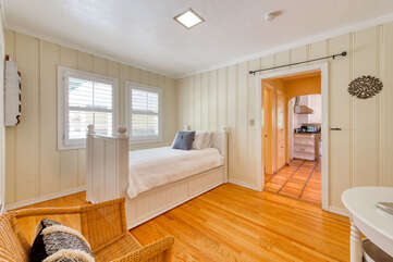 Easy-access third bedroom is just off the kitchen
