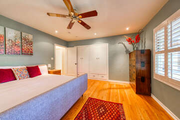 Super comfortable main bedroom with king bed