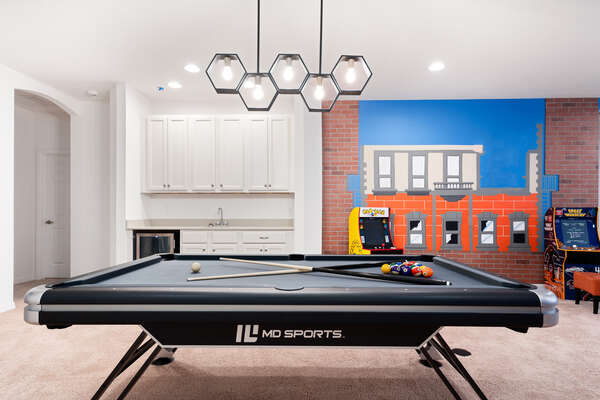 Challenge family members to a round of pool