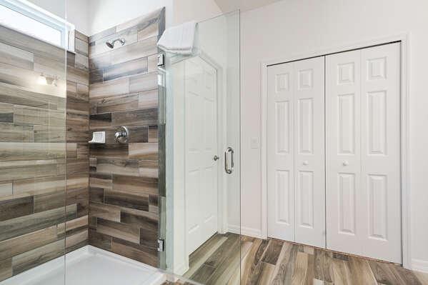 Beautiful wooden walk-in shower