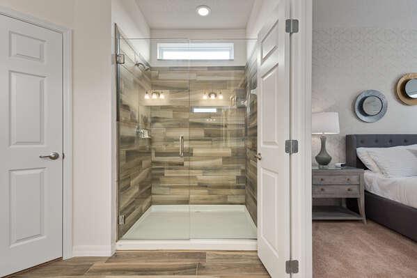 Luxury wooden walk-in shower