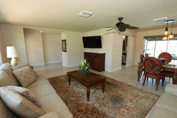Living Room, Large Screen TV, & Dining Room
