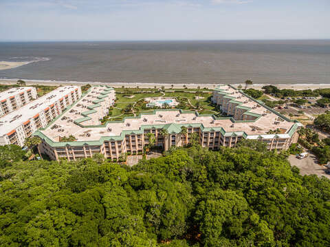 Aerial Picture of the Condo Buildings on the Beach.