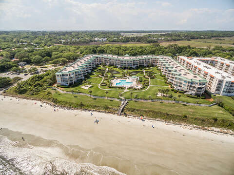 Aerial Picture of St. Simons Grand from the Beach.