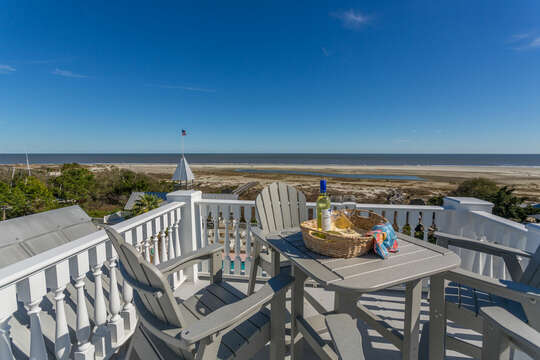 Outdoor Seating on Deck of Oceanfront Rental on St Simons Island.