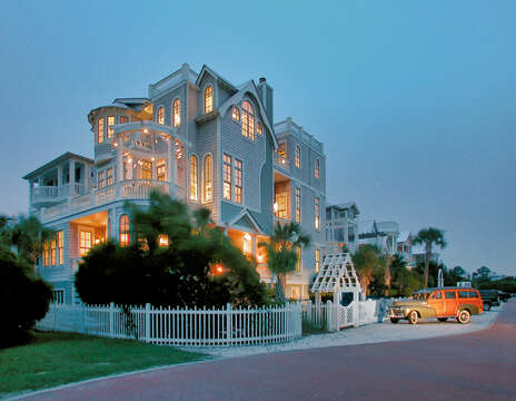Oceanfront Rental on St Simons Island Lit Up at Night.