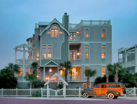 An Image of Oceanfront Rental on St Simons Island at Night.
