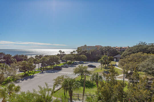Aerial Picture of the Parking Lot with a View of the Ocean.