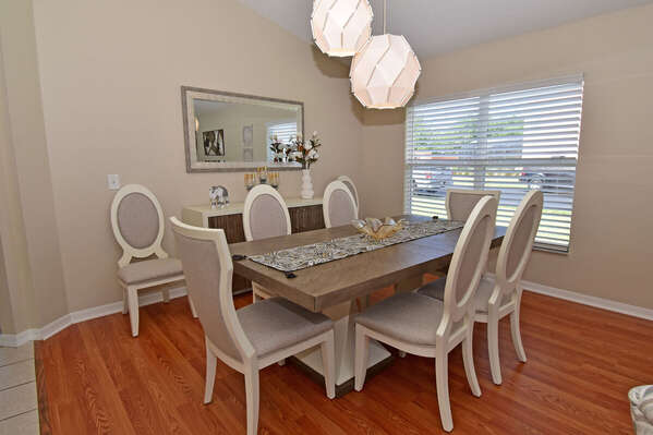 Stylish formal dining area