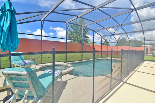 Pool area with safety baby fence in place