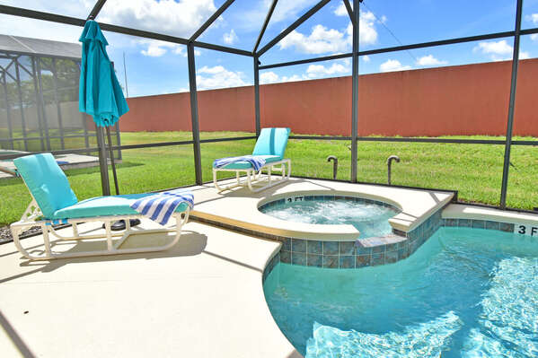 Sparkling pool and jacuzzi which is not overlooked to the rear