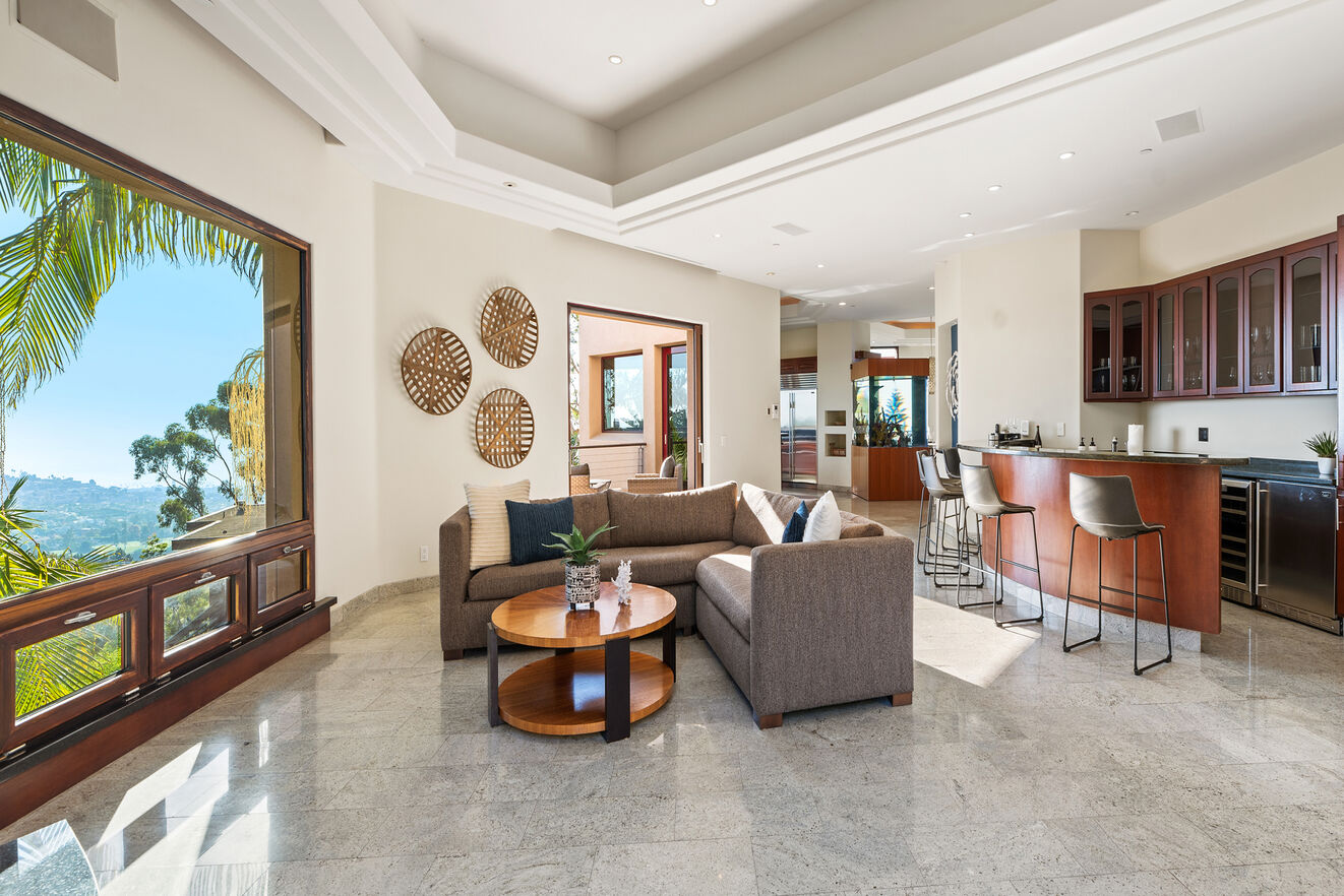 Mid level family room and bar
