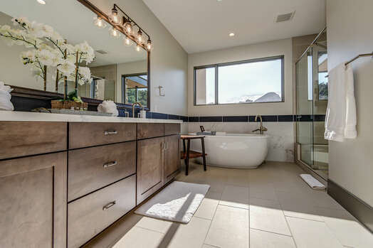 Spacious Master Bath with Dual Quartz Countertop Sinks, Soaking Tub and, Of Course, the Views