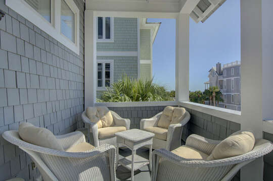 Comfortable seating of the front balcony.