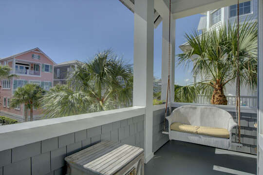 A view of the surrounding area from the balcony of this beach house in St. Simons Island.