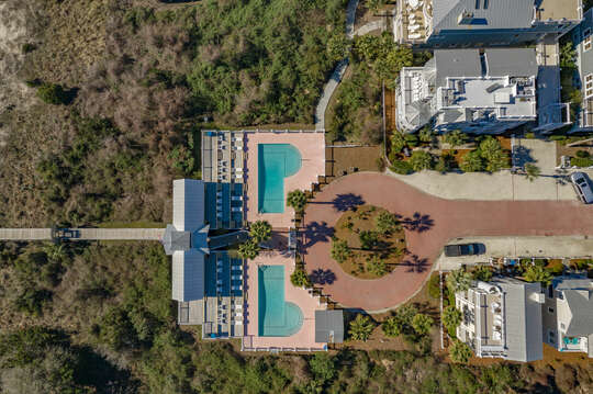 Aerial view of the two pools in the Coast Cottages community.
