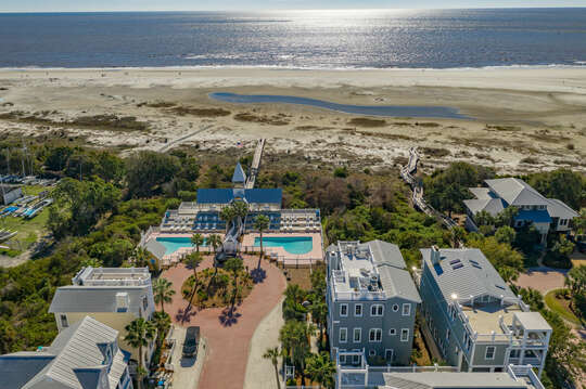 Aerial view of the area surrounding this beach house in St. Simons Island.