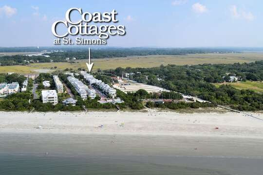 Aerial view of the Coast Cottages at St. Simons.